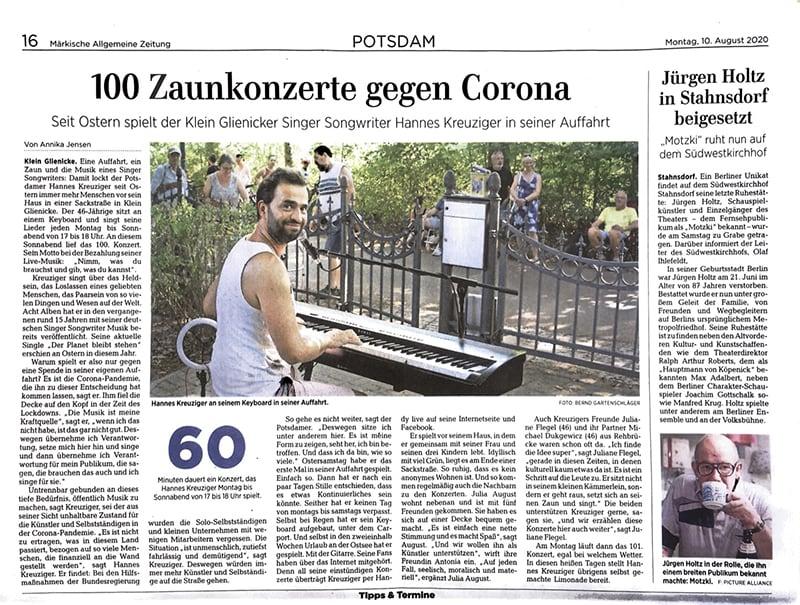 MAZ Hannes Kreuziger ZaunKonzerte 2020